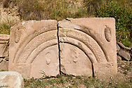 Picture & image of Vardzia medieval relief carved architectural panels from the cave city and monastery of Vardzia, Erusheti Mountain, southern Georgia (country)<br /> <br /> Inhabited from the 5th century BC, the first identifiable phase of building took place at  Vardzia in the reign of Giorgi III (1156-1184) to be continued by his successor, Queen Tamar 1186, when the Church of the Dormition was carved out of the rock and decorated with frescoes .<br /> <br /> Visit our MEDIEVAL PHOTO COLLECTIONS for more   photos  to download or buy as prints https://funkystock.photoshelter.com/gallery-collection/Medieval-Middle-Ages-Historic-Places-Arcaeological-Sites-Pictures-Images-of/C0000B5ZA54_WD0s<br /> <br /> Visit our REPUBLIC of GEORGIA HISTORIC PLACES PHOTO COLLECTIONS for more photos to browse, download or buy as wall art prints https://funkystock.photoshelter.com/gallery-collection/Pictures-Images-of-Georgia-Country-Historic-Landmark-Places-Museum-Antiquities/C0000c1oD9eVkh9c