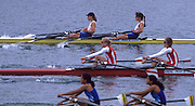 Munich, GERMANY   left, Jane HALL and Tracy LANGLANDS, GBR LW2X. 1998 FISA World Cup, Munich Olympic Rowing Course, 29-31 May 1998.  [Mandatory Credit, Peter Spurrier/Intersport-images] 1998 FISA World Cup, Munich, GERMANY