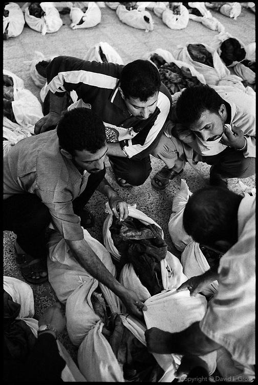 Relatives seeking missing family went from shroud to shroud, checking for an ID card, a familiar item of clothing, an artifact, any clue that might identify the bones among the hundreds on the floor of the auditorium of the former sports center in al Musayib, Iraq. The dead from this grave are mostly Shi'ites, killed after the unsuccessful rebellion in 1991.
