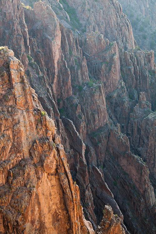 Sheer canyon walls in Black Canyon of the Gunnison National Park, Colorado.