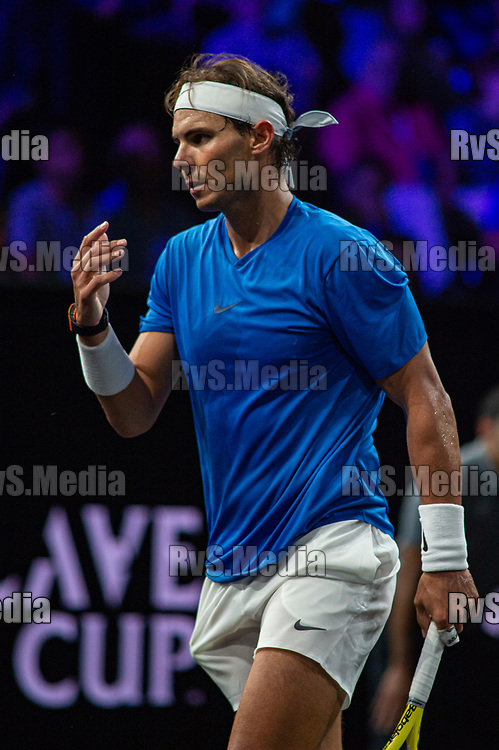 GENEVA, SWITZERLAND - SEPTEMBER 21: Rafael Nadal of Team Europe reacts after a point during Day 2 of the Laver Cup 2019 at Palexpo on September 21, 2019 in Geneva, Switzerland. The Laver Cup will see six players from the rest of the World competing against their counterparts from Europe. Team World is captained by John McEnroe and Team Europe is captained by Bjorn Borg. The tournament runs from September 20-22. (Photo by Monika Majer/RvS.Media)