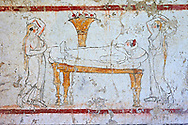 Lucanian fresco tomb painting of a dead women laid out on a bed . Paestrum, Andriuolo. Tomb n. 53 350-330 BC .<br /> <br /> If you prefer to buy from our ALAMY PHOTO LIBRARY  Collection visit : https://www.alamy.com/portfolio/paul-williams-funkystock - Scroll down and type - Paestum Fresco - into LOWER search box. {TIP - Refine search by adding a background colour as well}.<br /> <br /> Visit our ANCIENT GREEKS PHOTO COLLECTIONS for more photos to download or buy as wall art prints https://funkystock.photoshelter.com/gallery-collection/Ancient-Greeks-Art-Artefacts-Antiquities-Historic-Sites/C00004CnMmq_Xllw