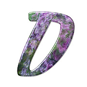 The Capitol Letter D Part of a set of letters, Numbers and symbols of 3D Alphabet made with a floral image on white background