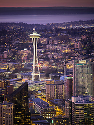 North America, United States, Washington, Seattle. An overhead view of downtown Seattle at sunset, looking northeast toward Lake Washington.