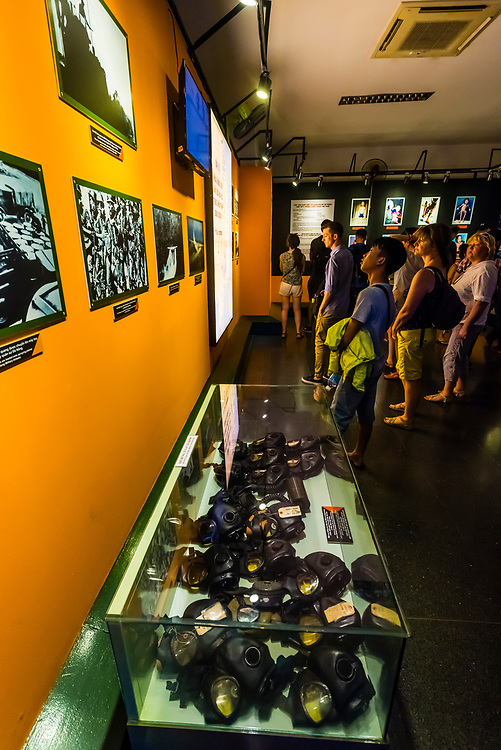 A display of gas masks used by American soldiers and photos of the results of the use of defoliants, The War Remnants Museum, Ho Chi Minh City (Saigon), Vietnam.