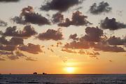 Nederland, Breskens, 5-9-2019 Een containerschip vaart op de Westerschelde vanuit de haven vab Antwerpen richting volle zee. Tegen de ondergaande zon, zonsondergang ..Foto: Flip Franssen