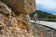 MURCIA, ESPANA - 13 DE FEBRERO: Joao Marcelo Pereira Gaspar, del Funvic Soul Cycles Carrefour, durante la ascension al Alto Collado Bermejo en la Vuelta a Murcia sabado 13 de febrero de 2016 en Murcia, Espana. (Photo by Aitor Bouzo)