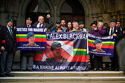 © Licensed to London News Pictures. 16/12/2016. London, UK. Supporters of Sergeant Alexander Blackman, outside The High Court after a bail hearing for Sgt Alexander Blackman, who is currently serving a life sentence after being convicted of murdering a wounded Taliban fighter in Afghanistan in 2011. Photo credit: Ben Cawthra/LNP