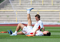 Photo: Chris Ratcliffe.<br />England Training Session. FIFA World Cup 2006. 29/06/2006.<br />David Beckham and Gary Neville in training.
