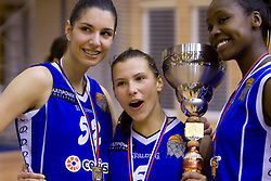 Ivona Matic, Iva Ciglar and Nikya Hughes of Celje celebrate with the Cup at finals match of Slovenian 1st Women league between KK Hit Kranjska Gora and ZKK Merkur Celje, on May 14, 2009, in Arena Vitranc, Kranjska Gora, Slovenia. Merkur Celje won the third time and became Slovenian National Champion. (Photo by Vid Ponikvar / Sportida)