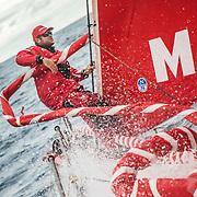 Leg 02, Lisbon to Cape Town, day 07, on board MAPFRE, Antonio Cuervas-Mons, Ñeti, durante un cambio de vela. Photo by Ugo Fonolla/Volvo Ocean Race. 11 November, 2017
