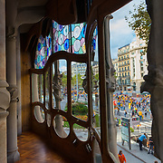 House of Batllo stained glass view of Rambla, Barcelona, Spain