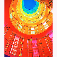 Interior of the glass brick tower in the 404 Washington Avenue, Miami Beach office bldg. Example of computer generated sequence light show display.