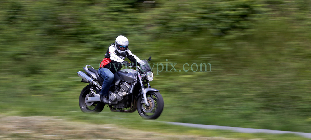 14 June 2019. Pas de Calais, France.<br /> Mucking about with bikes. Great fun shooting with Mark Featherstone  and his Honda 900cc Hornet around the country lanes of Hauts de France.<br /> Photo©; Charlie Varley/varleypix.com