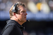 Oakland Raiders head coach Jack Del Rio watches from the sideline during a game against the Atlanta Falcons at Oakland Coliseum in Oakland, Calif., on September 18, 2016. (Stan Olszewski/Special to S.F. Examiner)