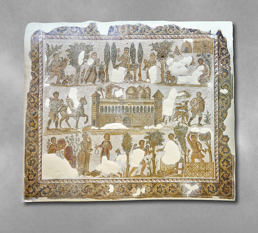 Early 5th century AD Roman mosaic depiction of the farm of Seigneur Julius . From Cathage, Tunisia.  The Bardo Museum, Tunis, Tunisia. .<br /> <br /> If you prefer to buy from our ALAMY PHOTO LIBRARY  Collection visit : https://www.alamy.com/portfolio/paul-williams-funkystock/roman-mosaic.html - Type -   Bardo    - into the LOWER SEARCH WITHIN GALLERY box. Refine search by adding background colour, place, museum etc<br /> <br /> Visit our ROMAN MOSAIC PHOTO COLLECTIONS for more photos to download  as wall art prints https://funkystock.photoshelter.com/gallery-collection/Roman-Mosaics-Art-Pictures-Images/C0000LcfNel7FpLI