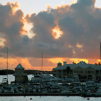 Bermuda, St. George's. Sunset from St. George's harbour.