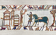 11th Century Medieval Bayeux Tapestry - Scene 47 - William prepares to meet Harold .<br /> <br /> If you prefer you can also buy from our ALAMY PHOTO LIBRARY  Collection visit : https://www.alamy.com/portfolio/paul-williams-funkystock/bayeux-tapestry-medieval-art.html  if you know the scene number you want enter BXY followed bt the scene no into the SEARCH WITHIN GALLERY box  i.e BYX 22 for scene 22)<br /> <br />  Visit our MEDIEVAL ART PHOTO COLLECTIONS for more   photos  to download or buy as prints https://funkystock.photoshelter.com/gallery-collection/Medieval-Middle-Ages-Art-Artefacts-Antiquities-Pictures-Images-of/C0000YpKXiAHnG2k