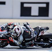 Jul 18 2015 Salinas, CA U.S.A. # 91 Leon Haslam get low in turn 2 during the superpole 1 & 2 eni FIM Superbike World Championship Laguna Sega Salinas, CA  Thurman James / CSM