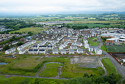 Elevated view of new houses in Raploch district of Stirling showing new housing and site of former houses, Scotland, UK