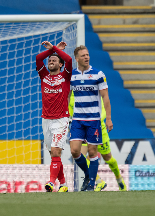 \Middlesbrough's Patrick Roberts (left) shows his frustration at coming close to scoring<br /> <br /> Photographer David Horton/CameraSport<br /> <br /> The EFL Sky Bet Championship - Reading v Middlesbrough - Tuesday July 14th 2020 - Madejski Stadium - Reading<br /> <br /> World Copyright © 2020 CameraSport. All rights reserved. 43 Linden Ave. Countesthorpe. Leicester. England. LE8 5PG - Tel: +44 (0) 116 277 4147 - admin@camerasport.com - www.camerasport.com