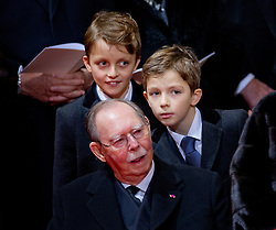 """File photo dated December 123, 2014 of Grand Duke Jean of Luxembourg attending Queen Fabiola of Belgium funeral in Brussels, Belgium. Grand Duke Jean has died at the age of 98 with his family at his bedside. He had recently been admitted to hospital suffering from a pulmonary infection. Grand Duke Henri announced the death of his father in a statement saying, """"It is with great sadness that I inform you of the death of my beloved father, His Royal Highness Grand Duke Jean, who has passed away in peace, surrounded by the affection of his family."""" Photo by Robin Utrecht/ABACAPRESS.COM"""