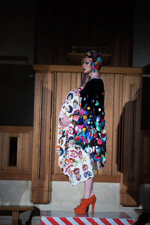 Catwalk of Dutch designer Bas Koster at The Dutch Centre Austin Friars in the City Of London  on  day 2 of London Fashion Week February 15 2014.<br /> <br /> <br /> Photo by Ki Price