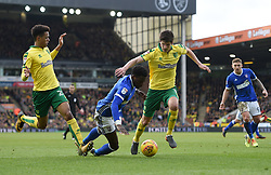 Ipswich Town's Dominic Iorfa goes to ground in the penalty area during the Sky Bet Championship match at Carrow Road, Norwich.