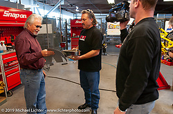 Loy Norrix filming Arlen Ness discussing seat design with Danny Gray for the Discovery Channel Top Banana Biker Build-Off. Dublin, CA. 2004. Photograph ©2004 Michael Lichter