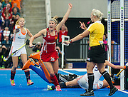 England's Lily Owsley celebrates scoring the equalising goal. England v The Netherlands - Final Unibet EuroHockey Championships, Lee Valley Hockey & Tennis Centre, London, UK on 30 August 2015. Photo: Simon Parker