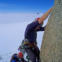 ANTARCTICA, Conrad Anker makes the first moves up the Razor, Queen Maud Land.