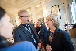 13 September 2017, New York, USA: On Gathering at the Yale Club in New York on 13 September for an interfaith prayer breakfast, faith leaders from a multitude of religions came together to support a coordinated faith-based effort in responding to HIV. The event was hosted by the World Council of Churches–Ecumenical Advocacy Alliance (WCC-EAA) in collaboration with UNAIDS, the United States President's Emergency Plan for AIDS Relief and the United Nations Interagency Task Force on Religion and Development on the side-lines of the 72nd session of the United Nations General Assembly. Here, Rev. Dr Olav Fykse Tveit (left) and UNAIDS' Sally Smith (right).