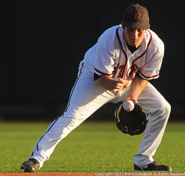 Rutgers second baseman Nick Favatella (#5) fields a ground ball during Rutgers 12-11 walk-off homerun victory over  Princeton in NCAA college baseball at Bainton Field in Piscataway, N.J.