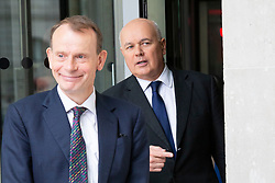 © Licensed to London News Pictures. 21/07/2019. London, UK. MP for Chingford and Woodford Green Iain Duncan Smith leaves the BBC with Andrew Marr. He leaves after appearing on The Andrew Marr Show . Photo credit: George Cracknell Wright/LNP