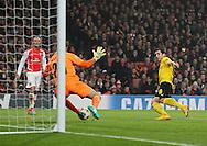 Arsenal's Emiliano Martinez saves from Dortmund's Henrikh Mkhitaryan<br /> <br /> UEFA Champions League- Arsenal vs Borussia Dortmund- Emirates Stadium - England - 26th November 2014 - Picture David Klein/Sportimage
