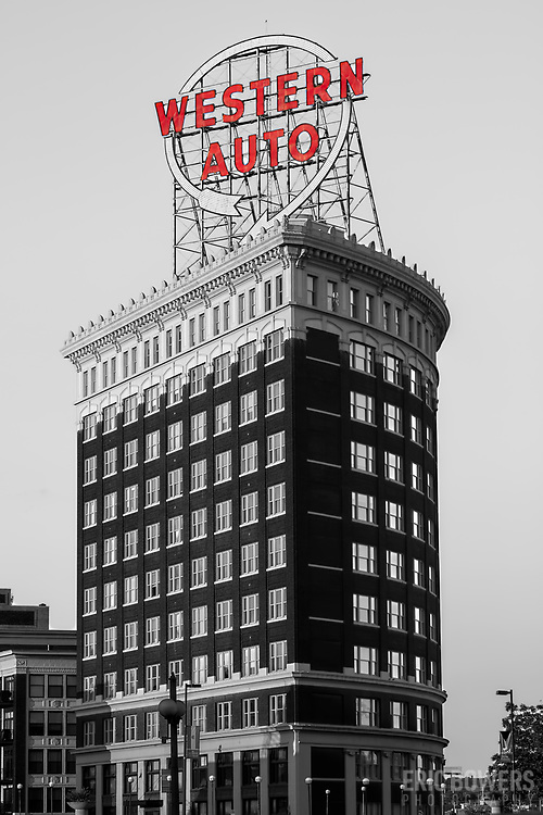 Western Auto Building and sign, black and white. Kansas City, Missouri. Color sign version with black and white for Prairiebrooke Arts customer, Overland Park, KS. May 2021. Original image from September 2015.