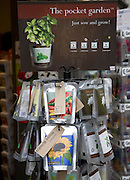 The pocket garden shop display of plant seeds