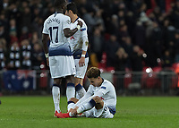 Football - 2018 / 2019 UEFA Champions League - Group B: Tottenham Hotspur vs. Inter Milan<br /> <br /> Dele Alli (Tottenham FC)  sits on the grass at the final whistle and holds his injured ankle at Wembley Stadium.<br /> <br /> COLORSPORT/DANIEL BEARHAM