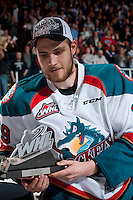 KELOWNA, CANADA - MAY 13: Leon Draisaitl #29 of Kelowna Rockets accepts the playoff MVP award on May 13, 2015 during game 4 of the WHL final series at Prospera Place in Kelowna, British Columbia, Canada.  (Photo by Marissa Baecker/Shoot the Breeze)  *** Local Caption *** Leon Draisaitl; MVP