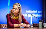 """DEN HAAG, 22-03-2021, World Forum The Hague<br /> <br /> Koningin Maxima opent in Den Haag de tiende editie van de Week van het geld. Het thema is dit jaar 'Leren omgaan met geld is goud waard'. Bij de opening zijn ook minister Hoekstra van Financien en minister Slob voor Basis- en Voortgezet Onderwijs en Media aanwezig. 's Middags houdt Koningin Máxima een toespraak tijdens het online openingsprogramma van de internationale Global Money Week 2021.<br /> <br /> Queen Maxima opens the tenth edition of Money Week in The Hague. This year's theme is """"Learning how to handle money is worth its weight in gold"""". Minister Hoekstra of Finance and Minister Slob of Primary and Secondary Education and Media will also be present at the opening. In the afternoon, Queen Máxima will give a speech during the online opening program of the international Global Money Week 2021."""