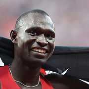 David Lekuta Rudisha, Kenya, wins the Men's 800m Final in a World Record time of 1:40.91 at the Olympic Stadium, Olympic Park, during the London 2012 Olympic games. London, UK. 9th August 2012. Photo Tim Clayton