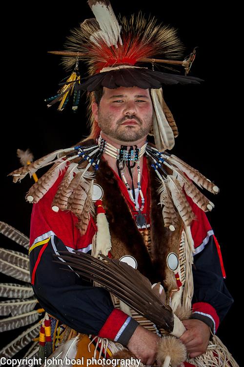 Mike Branham, Head male dancer. Portraits at the Monacan Powwow.  Elon, VA.  Saturday, May 16, 2015.  John Boal Photography