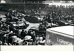 1978 - Uganda  Idi Amin s new armour on parade in Kampala recently. They are the T-54 Soviet tanks. (Credit Image: © Keystone Pictures USA/ZUMAPRESS.com)