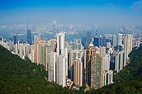 Chine, Hong Kong, vue générale de Hong Kong depuis la colline de Victoria Peak // China, Hong-Kong, cityscape from Victoria Peak