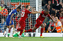Liverpool's Daniel Sturridge (right) celebrates scoring his side's first goal of the game his side's first goal of the game during the Carabao Cup, Third Round match at Anfield, Liverpool.