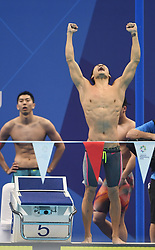 JAKARTA, Aug. 24, 2018  Xu Jiayu of China celebrates after men's 4x100m medley relay final of swimming at the 18th Asian Games in Jakarta, Indonesia, Aug. 24, 2018. China won the gold medal. (Credit Image: © Pan Yulong/Xinhua via ZUMA Wire)