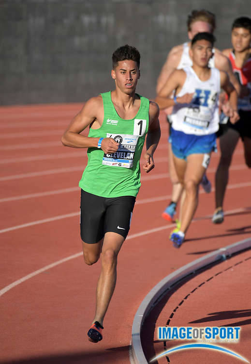 Apr 20, 2018; Torrance, CA, USA; Jericho Cleveland  of Volcano Vista wins the boys mile 4:09.42 during the 60th Mt. San Antonio College Relays at Murdock Stadium.