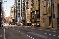 Second Avenue of downtown Seattle is vacant. (March 21, 2020).