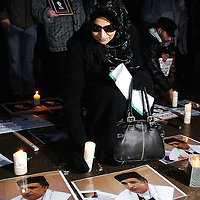 The Silent Walk for Justice 2008 took part in Edinburgh this afternoon highlighting claimed miscarriages of justice. The walk set off from The Hub at the top of the Royal Mile and ended at the Scottish Parliament with a candle lit vigil...Pics shows Aisha Al Megrahi, wife of the Lockerbie bomber Adbel baset Ali Mohmed al-Megrahi at the walk