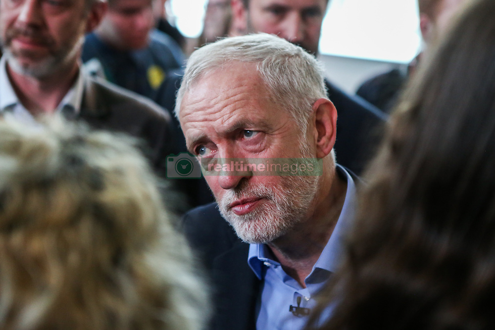 May 10, 2017 - Leeds, West Yorkshire, UK - Leeds, UK. Labour Leader Jeremy Corbyn meets staff and pupils with shadow education secretary Angela Rayner at Leeds City College in West Yorkshire. Yesterday Labour officially launched their general election campaign and unveiled their 'battle bus' in Manchester. (Credit Image: © Ian Hinchliffe/London News Pictures via ZUMA Wire)